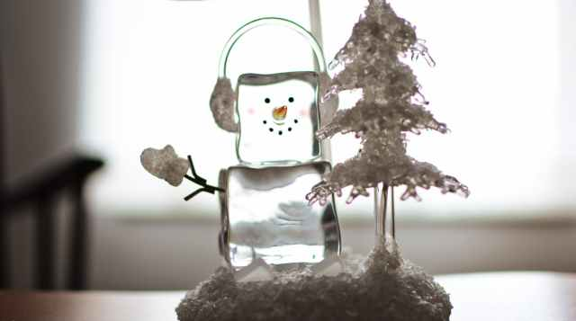 ice cube snowman with headphones ornament
